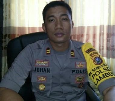 Ketgam :Kapolsek Lambuya Iptu Johan Armando Utan/foto : Januddin