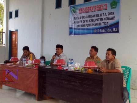 Ketgam : Kegiatan Reses Ketua DPRD Konawe Dr Ardin di Desa Wawonggole, Kecaman Besulutu, Kabupaten Konawe, Sulawesi Tenggara (Sultra) yang merupakan Daerah Pemilihan (Dapil) III. Selasa, (19/1/2019).