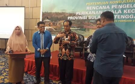 Ketgam : Acara pertemuan konsultatif kedua rencana pengelolaan perikanan skala kecil daerah Provinsi Sultra 2019-2023 di salah satu hotel di Kendari, Selasa 26 Februari 2019.