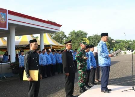 Ketgam : Bupati Konawe Selatan Surunuddin Dangga saat memimpin upacara hari pencasila serta membacakan sambutan BPIP RI