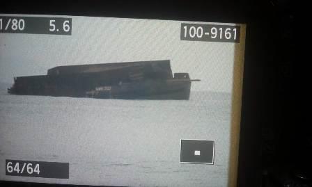 Ketgam : Kapal Tongkang Milik PT Tristaco terdampar di perairan Tanjung Laimeo Kecamatan Sawa pada rabu, (5/6/19) lalu.