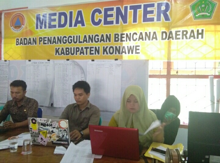 Ketgam : Suanana Pelayanan di media center BPBD Konawe