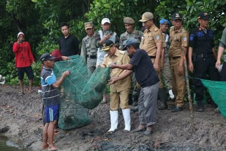 Ketgam : Bupati Konsel Surunuddin Dangga bersama petani saat memanen udang