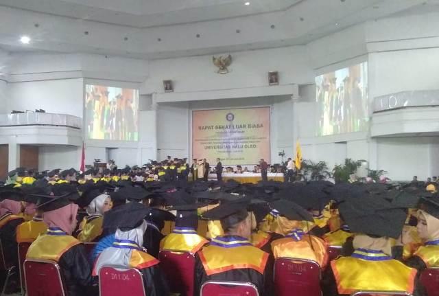 Ketgam : Suasana wisuda 1873 mahasiswa Universitas Halu Oleo (UHO), Kota Kendari, Sulawesi Tenggara diwisuda Senin,29/07/2019.