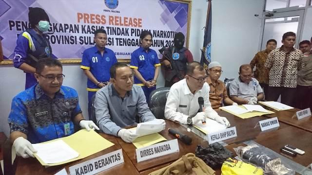 ketgam : Konprensi pers pengungkapan narkoba BNNP Sultra