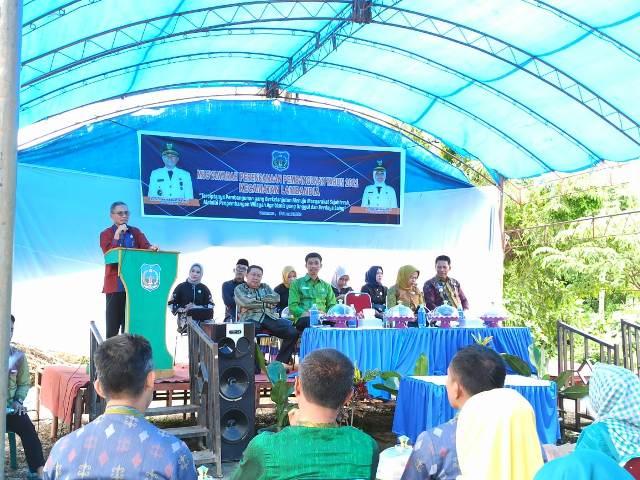 Ketgam : Bupati Koltim Tony Herbiansya saat membuka acara musrembang tingkat kecamatan Lambandia