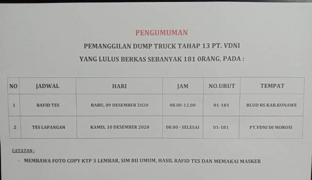 Pengumuman Lolos Berkas CTKL Tahap 13 Dump Truck PT.VDNI