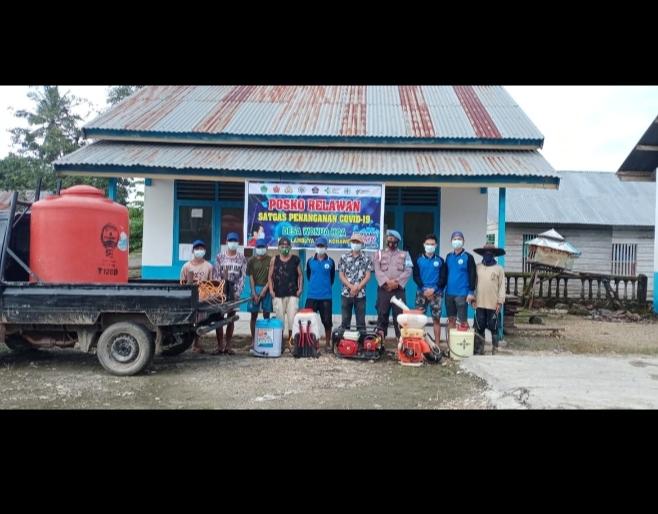 ketgam : Persiapan penyemprotan disinfektan di rumah warga di Deda Wonuahoa